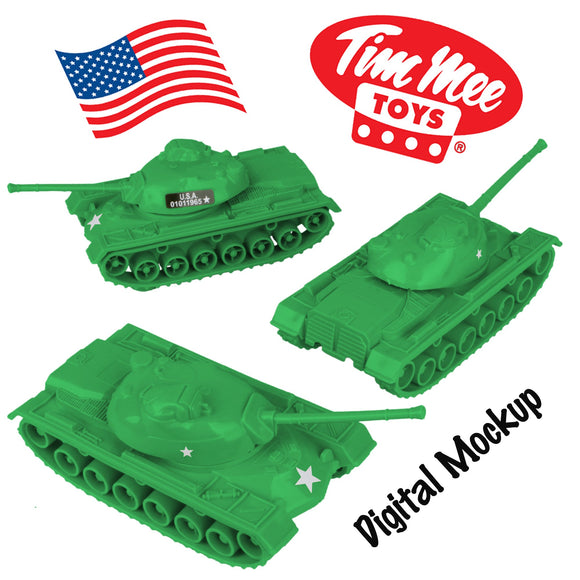 TimMee Toy TANKS for Plastic Army Men: Medium Green WW2 3pc - Made in USA