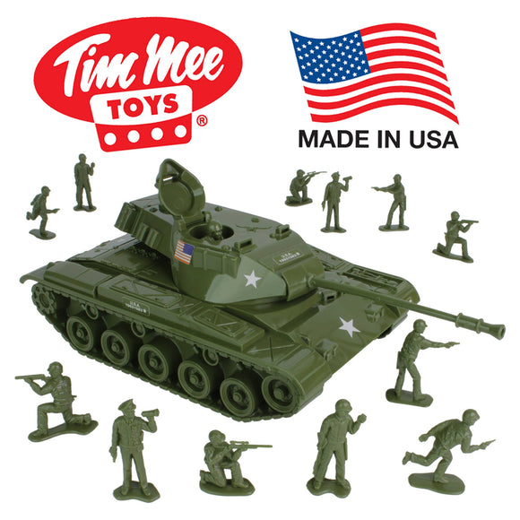 Tim Mee Toy Walker Bulldog TANK Playset- Olive Green 13pc - Made in USA