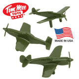 Tim Mee WW2 Fighter Ace Planes - 3 Green Plastic Army Men AIRPLANES Made in USA