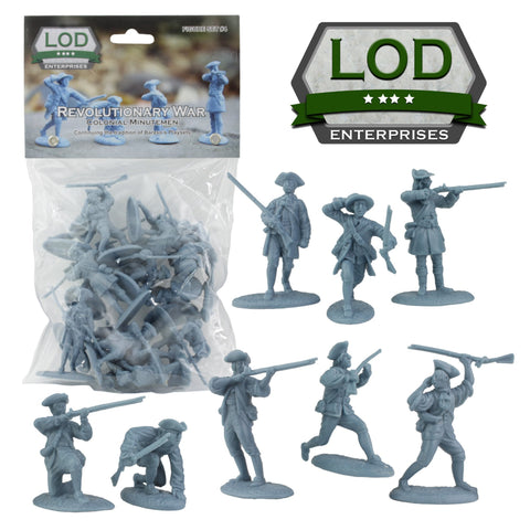 LOD Revolutionary War Colonial Minutemen - 16 Blue 1:35 Figures