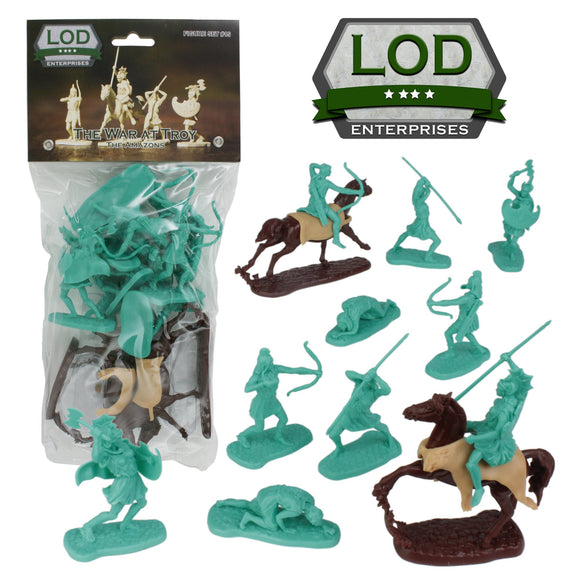 LOD TROJAN WAR Plastic Amazon Warrior Figures - 12pc Ancient Female Toy Soldiers