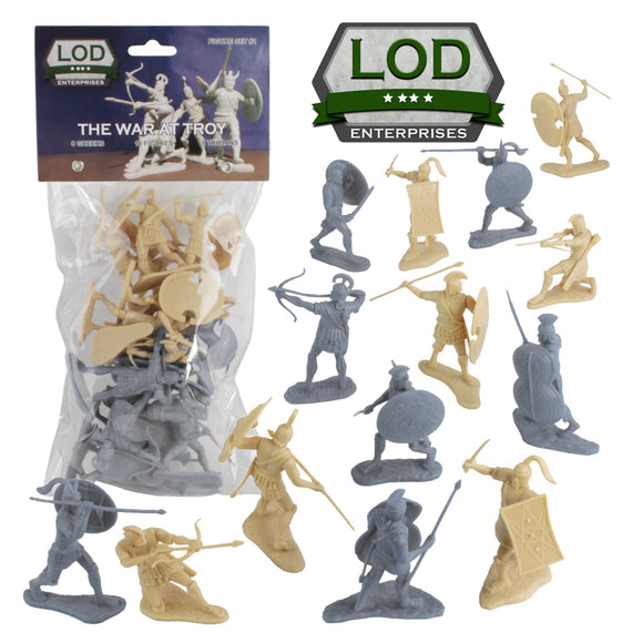 LOD Trojan War GREEKS vs. TROJANS Soldiers: 16 TAN & GRAY 1:30 Plastic Figures