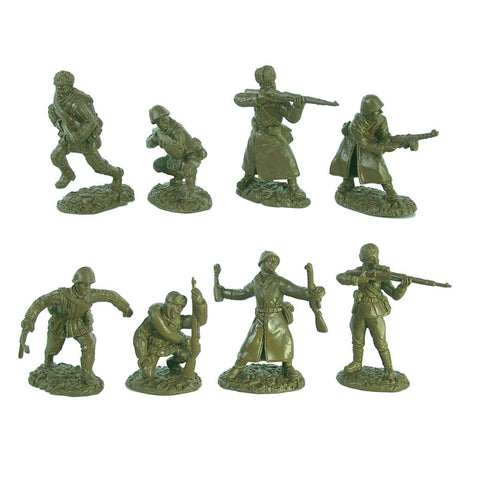 TSSD WW2 Russian Infantry: 16 GREEN 1:32 Plastic Army Men Figures