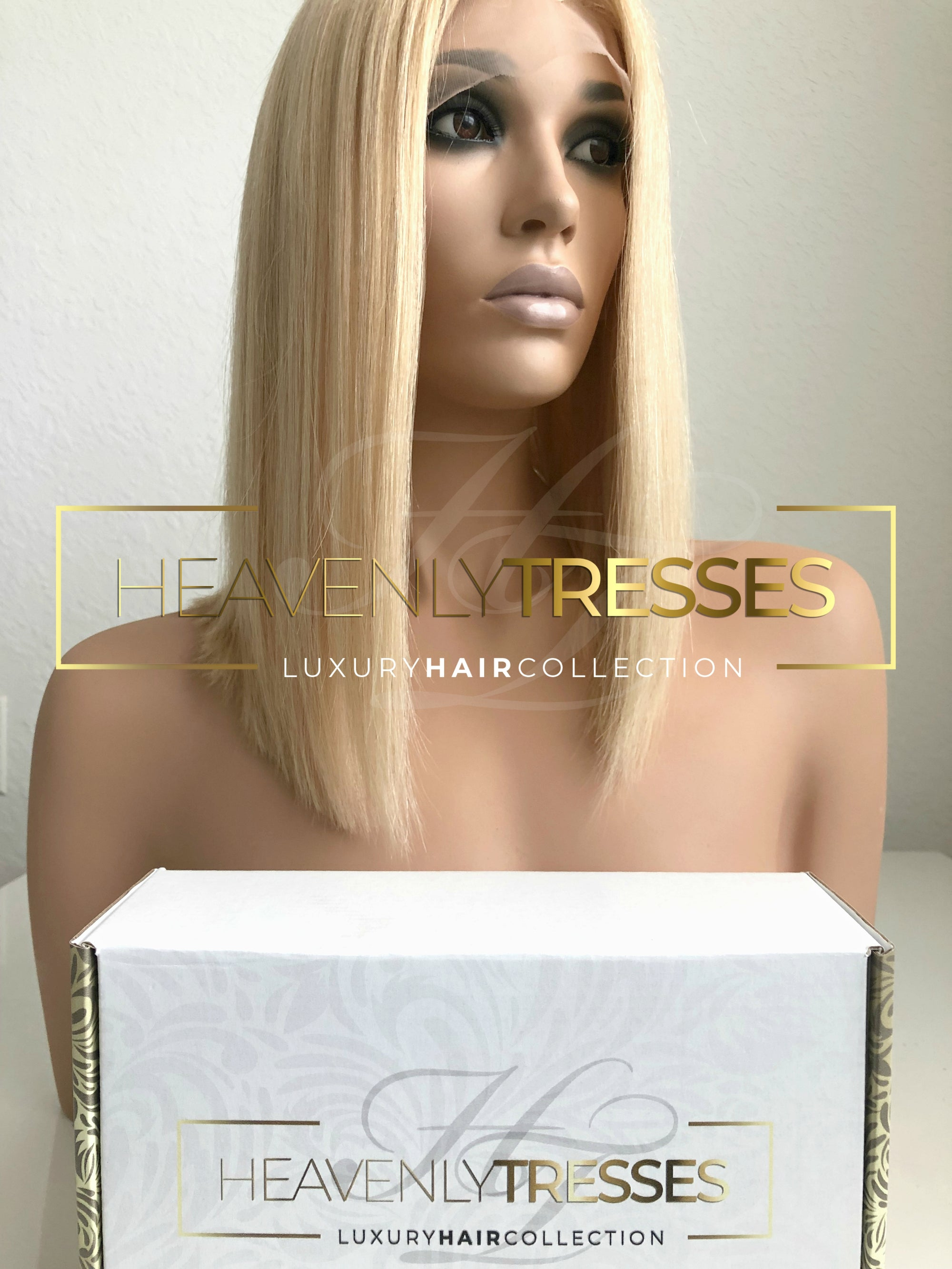 "European Wig: Bleach Blonde Blunt Bob with 4"" x 4"" Silk Top Base - ""Giselle"""