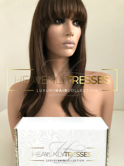 Virgin European Custom Full Lace Wig: Warm Golden/Chestnut brown blend balayage with front bangs