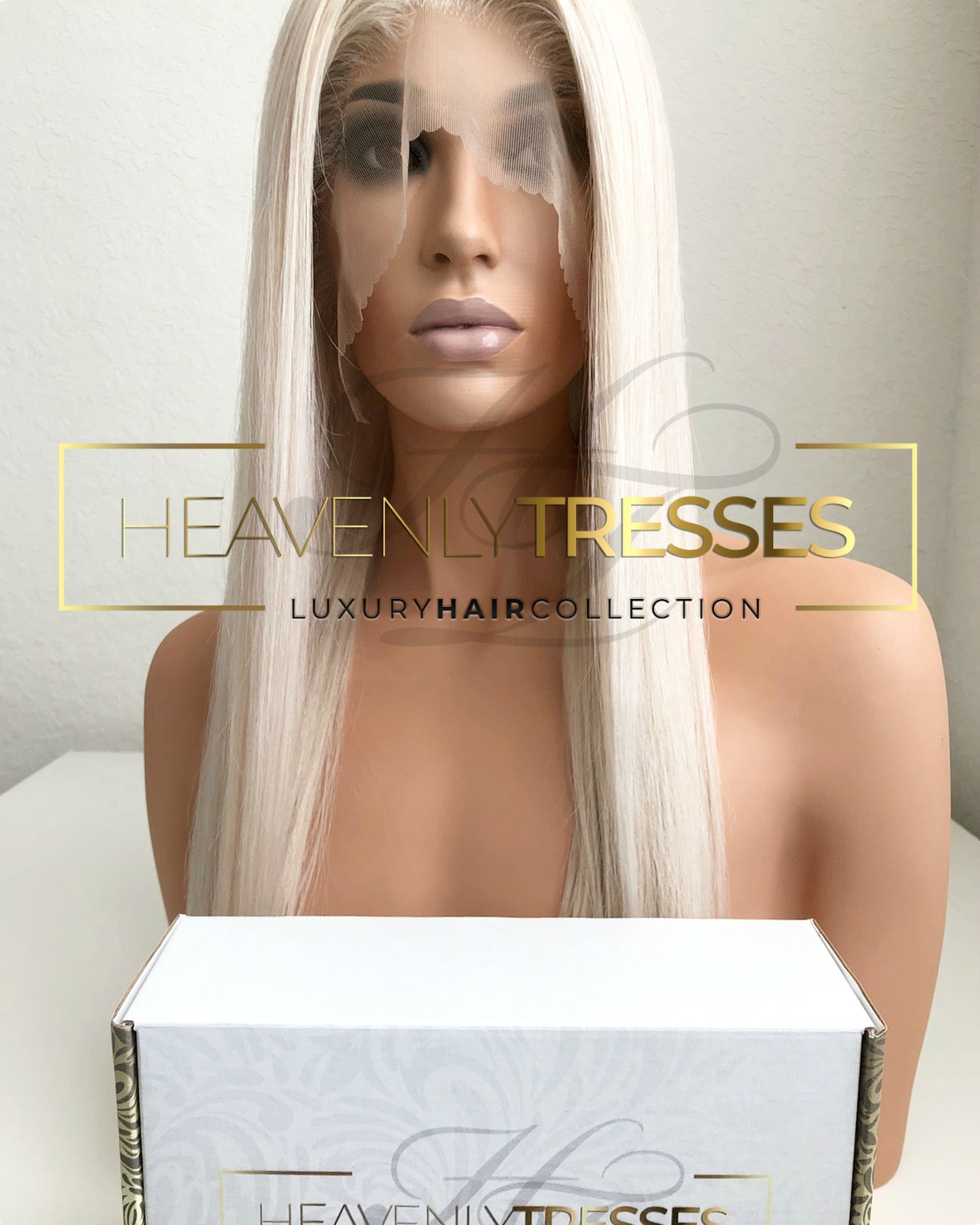 "Custom Lace Wig: Silky Straight Platinum Blonde  - ""Arianna"""