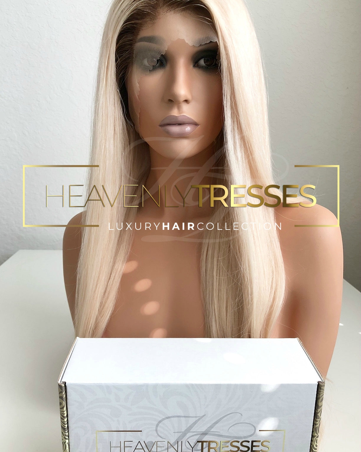 "Custom Lace Wig: Silky Straight Platinum Blonde with Dark Brown Roots Ombre' - ""Vera"" [Made-to-Order]"