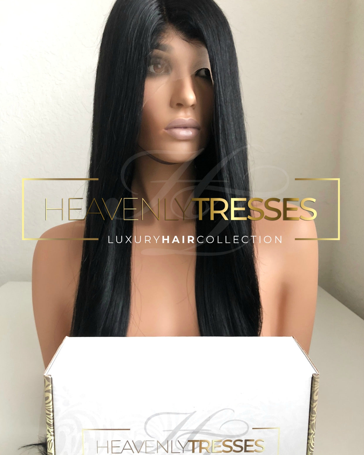 Jet black #1 Virgin Silky Straight Human Hair Lace Wig