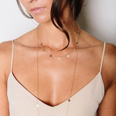 Small Gold-Filled Sequin Layering Necklace - Tess + Tricia