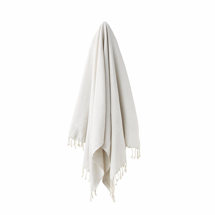 Organic Turkish Kai grey towel hanging