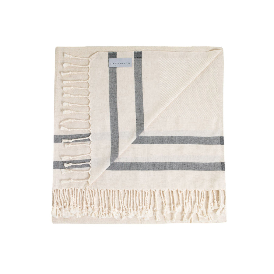 Organic Turkish Lagoon beige and black towel flat