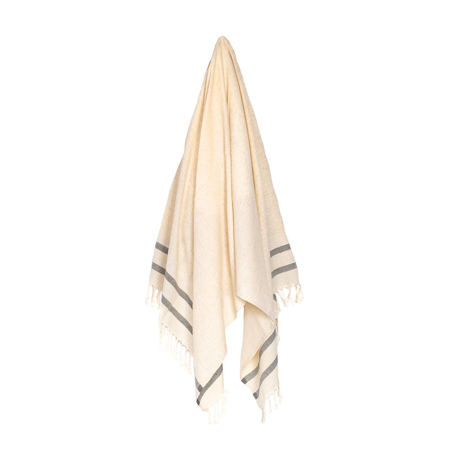 Organic Turkish Lagoon beige and black towel hanging