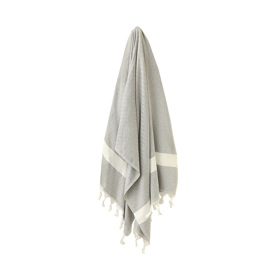 Organic Turkish Yara dark grey towel hanging