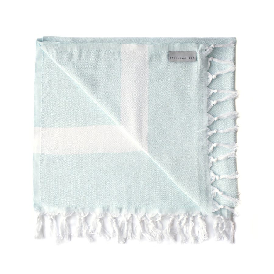 Organic Turkish Yara mint towel flat