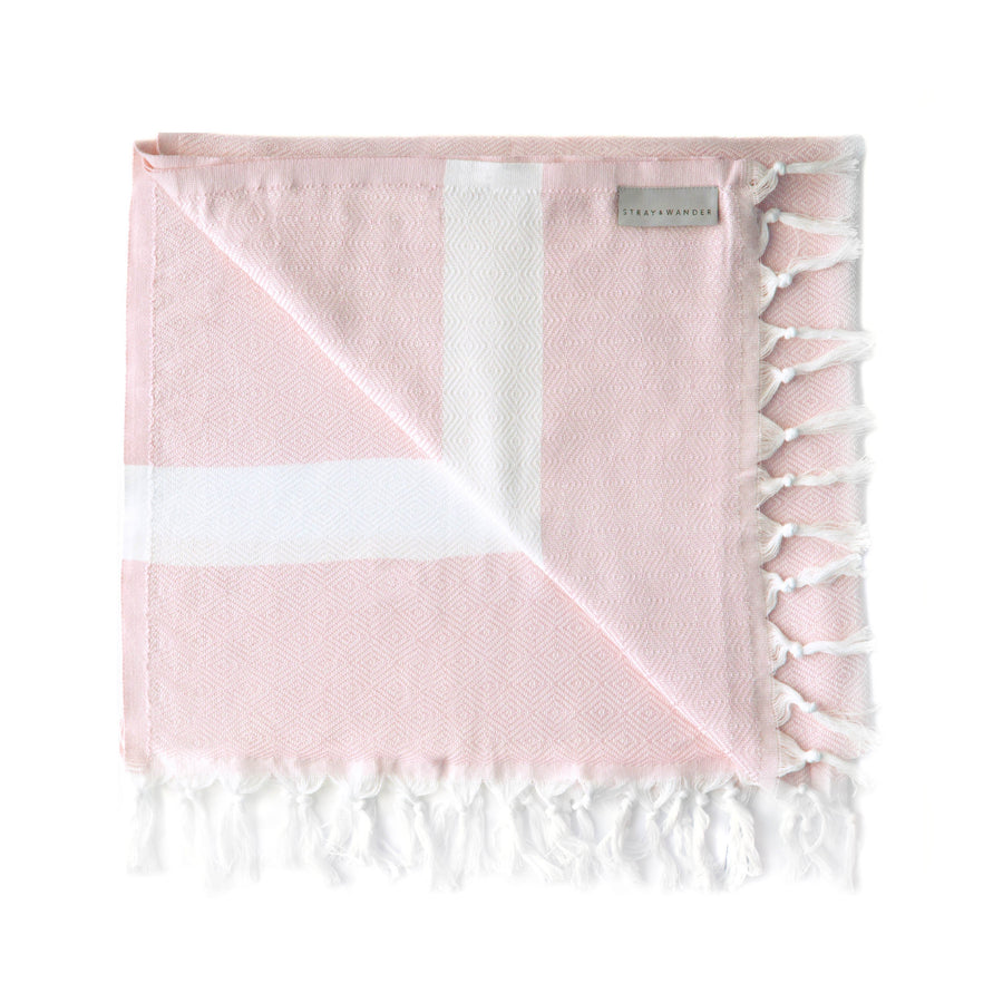 Organic Turkish Yara pink towel flat