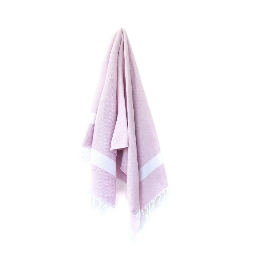 Organic Turkish Yara pink towel hanging