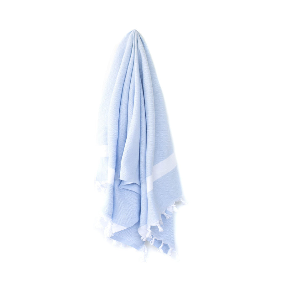 Organic Turkish Yara blue towel hanging