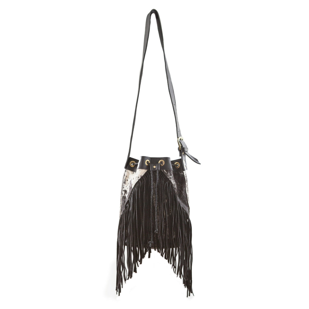 Boho Bucket Bag- Black Calf Hair
