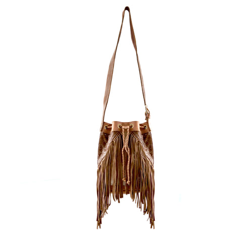 Boho Bucket Bag- Brown Calf Hair