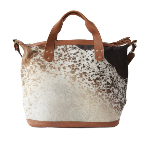 Jetsetter Overnight Tote- Brown Calf Hair