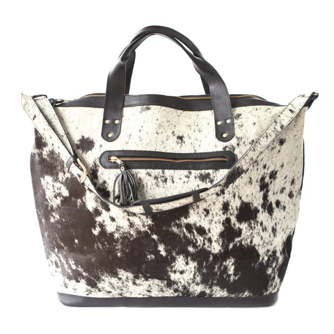 Jetsetter Weekender Tote- Black Calf Hair