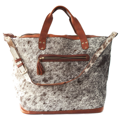 Jetsetter Weekender Tote- Brown Calf Hair