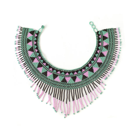 Waterfall Necklace Pink / Black / Teal -