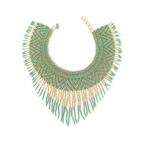 Waterfall Necklace - Teal & Gold