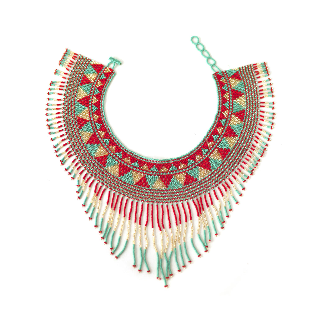 Waterfall Necklace - Coral, Gold & Turquoise
