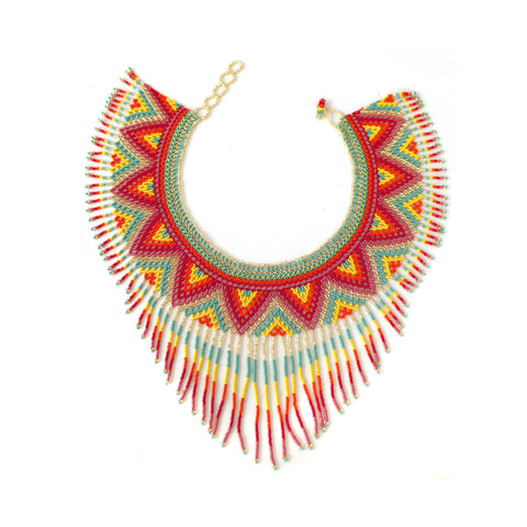 Waterfall Necklace - Red & Yellow