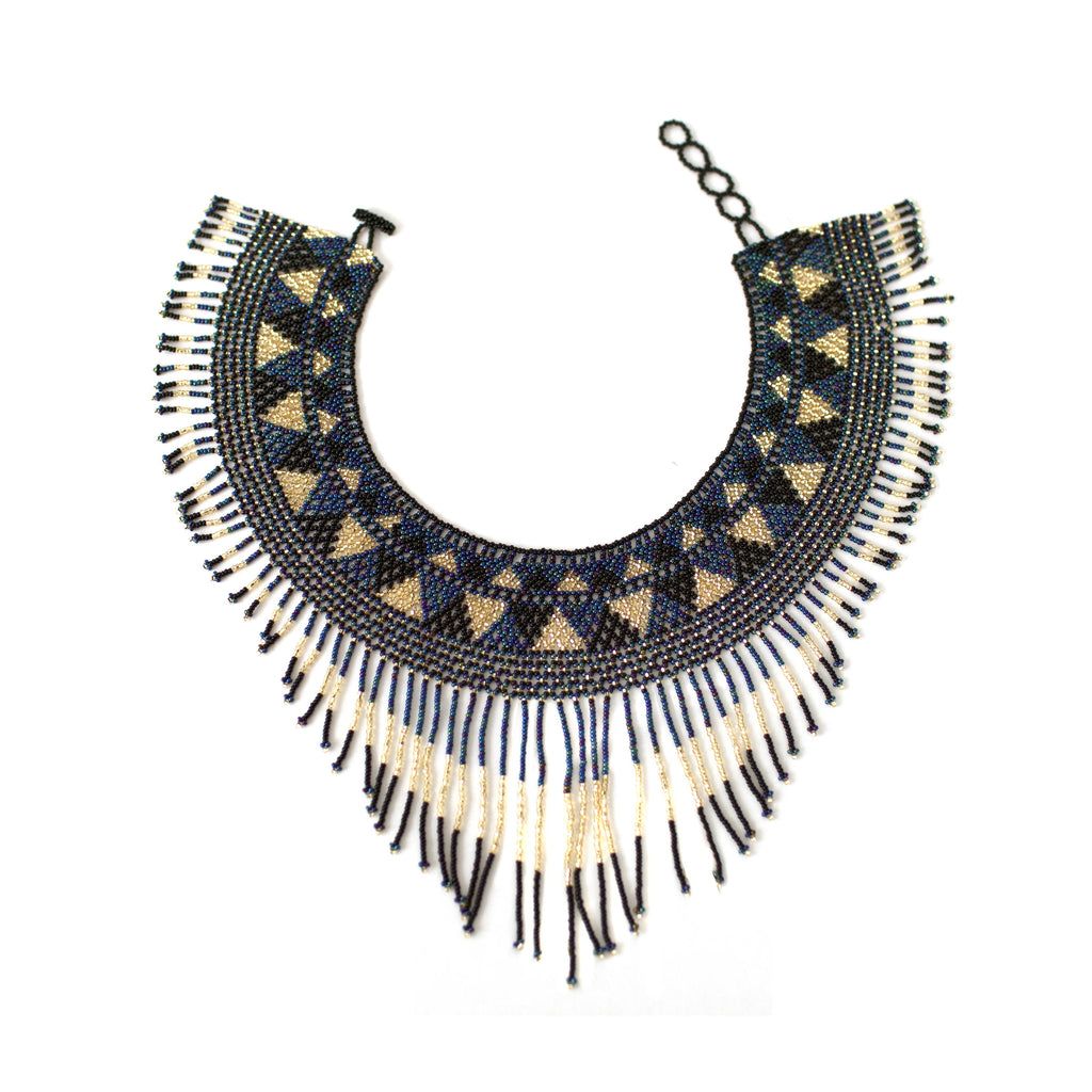 Waterfall Necklace - Navy, Gold & Black