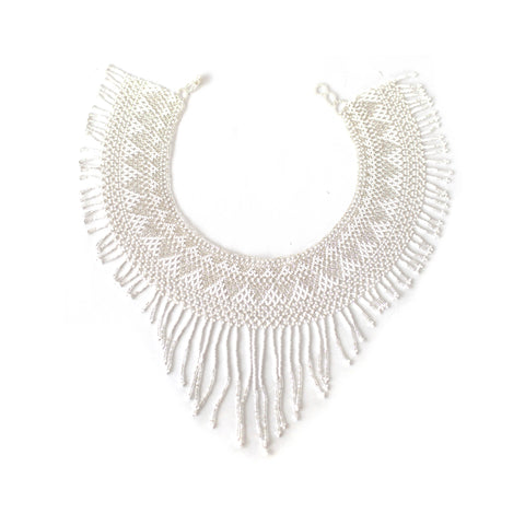 Waterfall Necklace - White & Clear