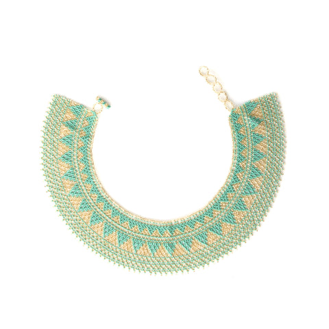 Collar Necklace Turquoise & Gold