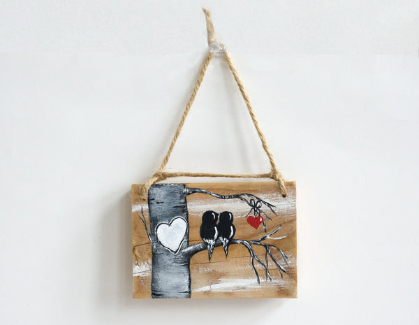 Love Birds on Natural Wood - Small Wall Hanging or Ornament - Linda Fehlen Gallery
