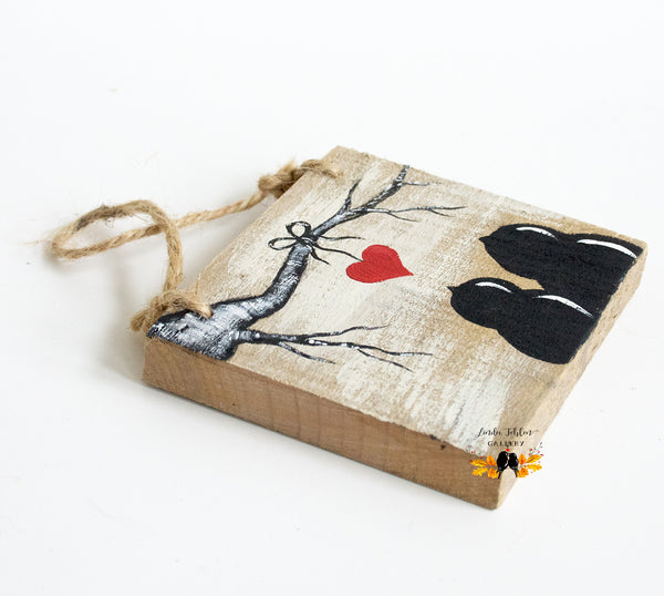 Love Birds Reclaimed Wood Ornament - Linda Fehlen Gallery