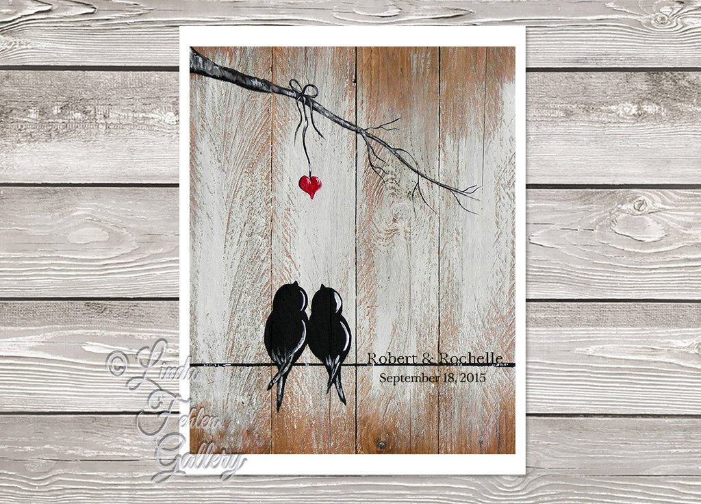 Art Print - Love Birds on a Wire  - Unique 1st Anniversary Gift - Linda Fehlen Gallery