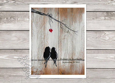 Art Print - Love Birds on a Wire  - Unique 1st Anniversary Gift