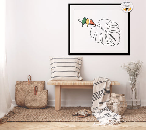 Three Little Birds Printable Wall Art, Monstera Leaf Line Art - Linda Fehlen Gallery