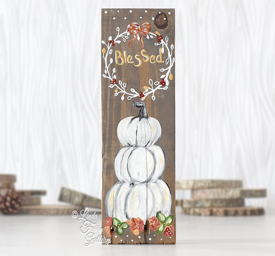White Pumpkins Fall Sign