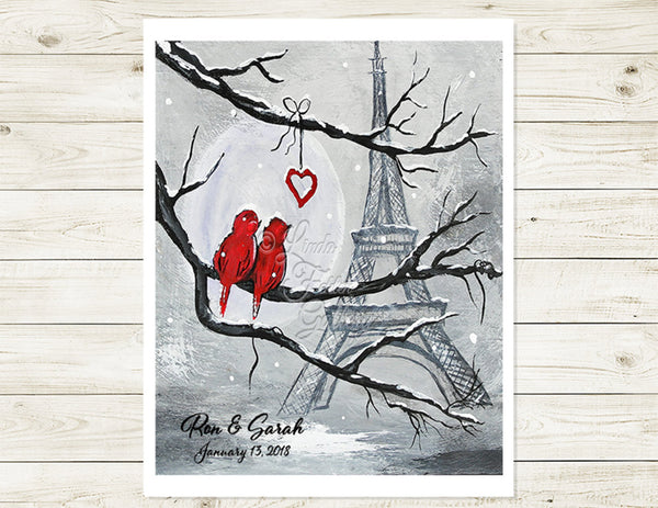 Personalized art print with love birds in Paris