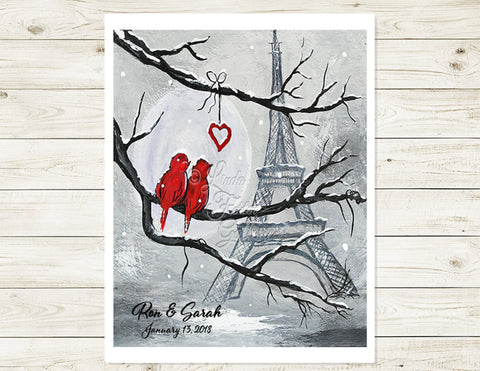 Paris love birds art print