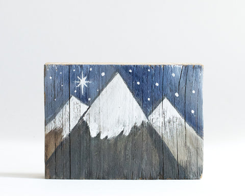 Wood Snow Capped Colorado Mountain Mini Art - Linda Fehlen Gallery