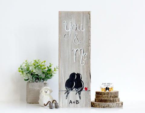 Hand Painted Farmhouse Style You & Me Wood Sign with Love Birds - Linda Fehlen Gallery
