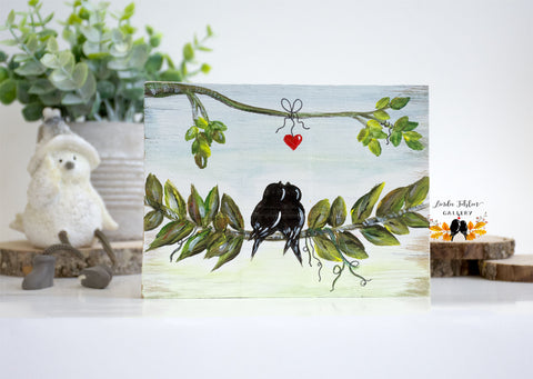 Love Birds on Leafy Branch, 5th Anniversary Gift for Couples - Linda Fehlen Gallery