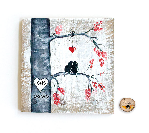 Love Birds Wood Painting  - Unique 5th Anniversary Gift for Him or Her - Linda Fehlen Gallery