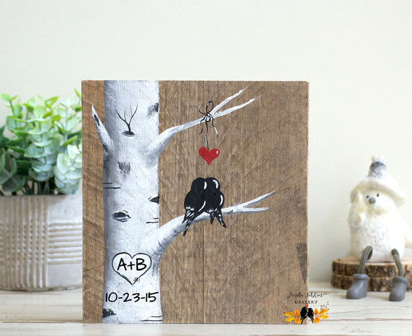 Perfect 5th Anniversary Gift for Her - Lovebirds in Colorado Aspen Tree Painting