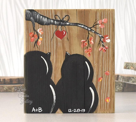 Personalized Engagement Gift - Wood Love Birds Sign with Fall Colors  - Wood Fall Decor - Linda Fehlen Gallery