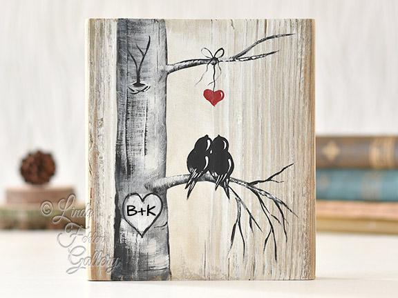 love birds on reclaimed wood painting