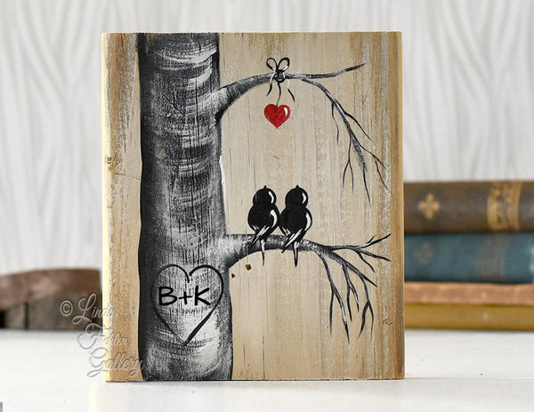 Personalized 5th Anniversary Gift - Lovebirds and Aspen Tree Painting