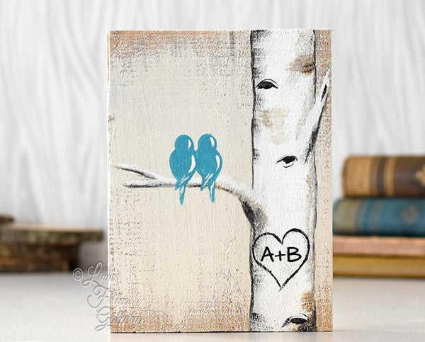 Perfect 5th Anniversary Gift for Her - Lovebirds and Aspen Tree Painting on Wood